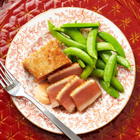 Panko-Crusted Tuna with Orange-Ginger-Glazed Snap Peas