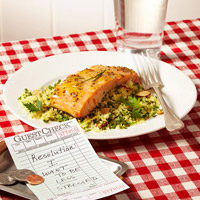 Orange-Dijon Salmon With Almond-and-Herb Couscous