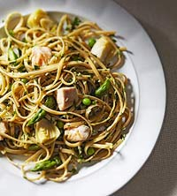 Linguine With Pesto, Chicken and Spring Vegetables