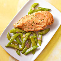 Chive-Mustard Chicken With Sugar Snap Peas