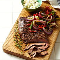 Sizzled Flank Steak With Peppers and Goat Cheese
