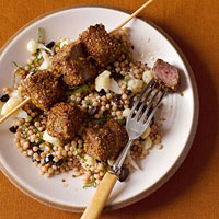 Pistachio-Crusted Beef Kebabs With Cauliflower Couscous