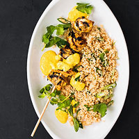 Curried Chicken Kebabs With Minty Couscous