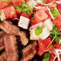 Chili-Rubbed Flank Steak with Watermelon-Jicama Salad