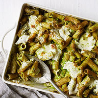 Baked Ziti with Pea-and-Arugula Pesto