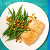 Roasted Salmon With Green Bean, Apricot and Pistachio Salad