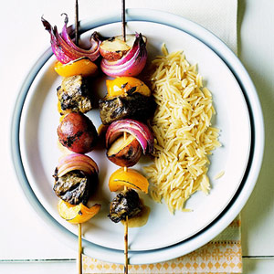 Lamb Kabobs with Mustard Glaze