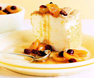 Orange Angel Food Cake with Fruit Compote