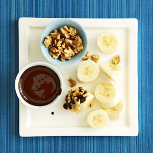 Banana With Dark Chocolate-Honey Sauce