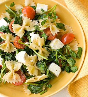 farfalle with watercress cherry tomatoes and feta fitness magazine