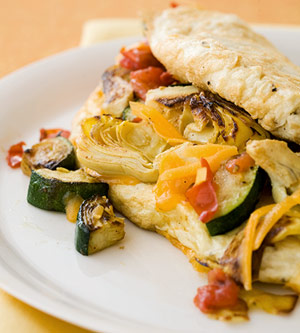 Souffle Omelet With Zucchini, Artichoke and Cheddar