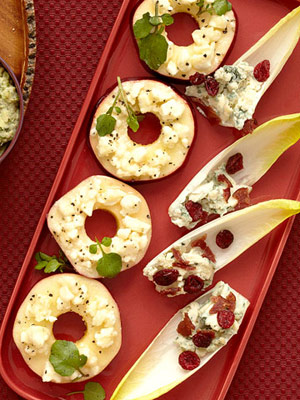 Cheese, Bacon and Cranberry Endive Boats
