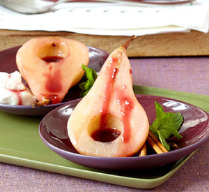 Red-Wine Poached Pears With Red-Wine Drizzle