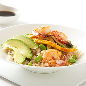 """Shrimp-and- Avocado Rice Bowl"""