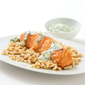 Cumin Salmon with Yogurt-Cucumber Sauce
