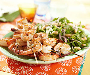 Rosemary Shrimp Skewers With Arugula White Bean Salad
