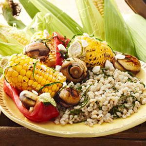 Grilled Vegetables Over Barley With Feta and Basil