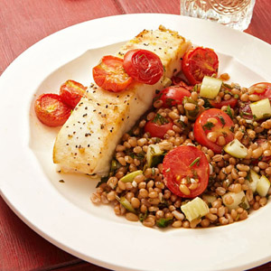 Halibut With Oven-Roasted Tomatoes and Wheat Berry Tabbouleh