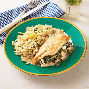 Greek Stuffed Chicken Breasts With Lemon Orzo