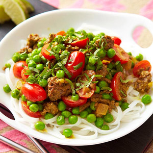 Curried Beef With Peas and Grape Tomatoes