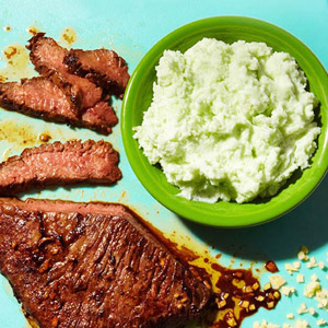 Asian Marinated Flank Steak With Wasabi  Mashed Potatoes