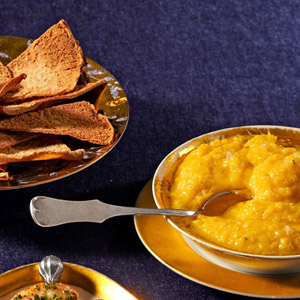 Winter Squash and White Bean Puree With Pita Chips
