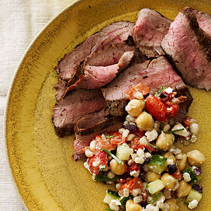 Grilled Flank Steak with Mediterranean Barley Salad