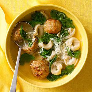 Cheesy Chicken Meatball-and-Tortellini Soup