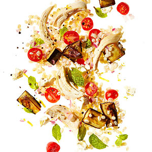 Mediterranean Barley Salad with Chicken and Roasted Eggplant