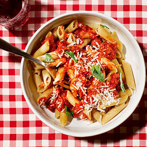 Penne with Roasted Red Pepper Marinara