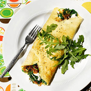 Caramelized Onion, Arugula and Goat Cheese Omelets