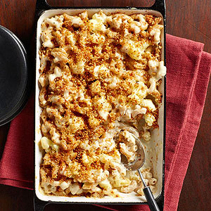 Cauliflower Macaroni and Cheese with Golden Bread Crumbs