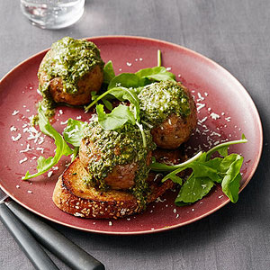 Lentil-Turkey Meatballs on Grilled Bread