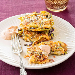 Cabbage Pancakes with Bacon and Spicy Dipping Sauce