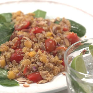 Quinoa Salad with Dried Apricots & Baby Spinach