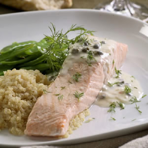 Poached Salmon with Creamy Piccata Sauce