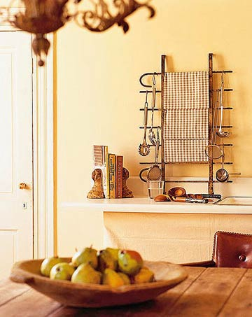 pears and storage rack in kitchen