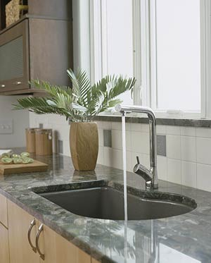 Deep sink on sleek countertop