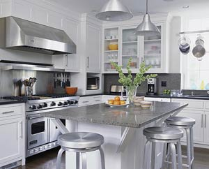 Stainless steel, contemporary kitchen