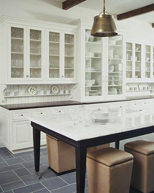 Kitchen island with white cabinet doors