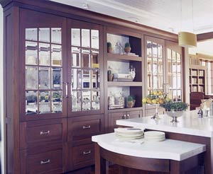 Dark brown cabinet doors