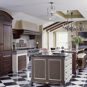 Beautiful kitchen with checkered floors