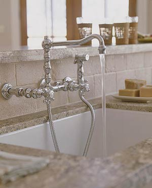subway-style backsplash is the perfect backdrop for the sink