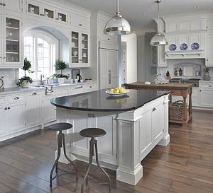 Large, white kitchen
