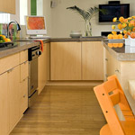 Bright kitchen with bamboo flooring