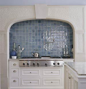 Blue Mosaic-Tile Backsplash French Provincial Wall