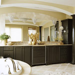 Large double bathroom sinks with large mirror