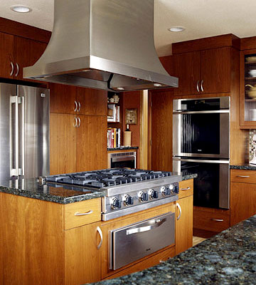 Stainless-Steel Cooktop and Exhaust Hood
