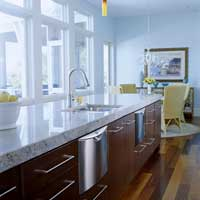 Kitchen island near windows