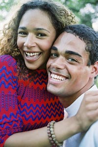 African-American Couple Hugging